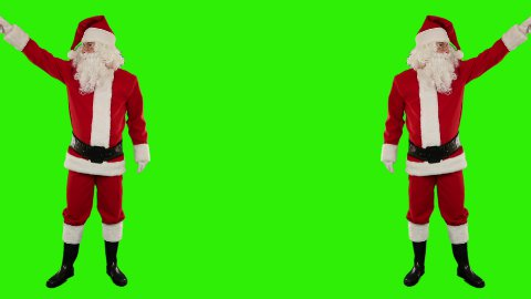 Santa Claus Dancing isolated, Dance 7, Green Screen - stock footage