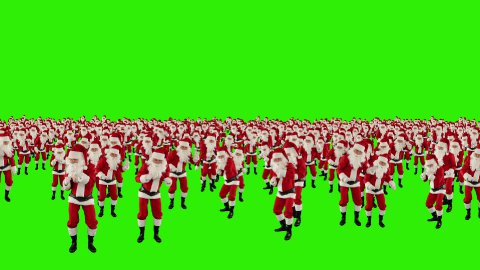 Santa Claus Crowd Dancing, Christmas Party, Green Screen - stock footage