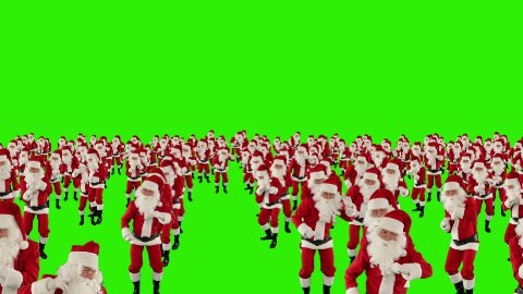 Santa Claus Crowd Dancing, Christmas Party cam fly over, Green Screen - stock footage