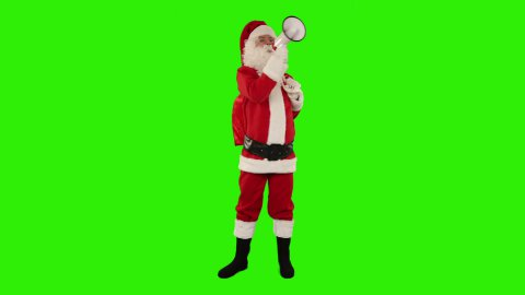 Santa Claus with a loudspeaker making an announcement, front view, Green Screen - stock footage