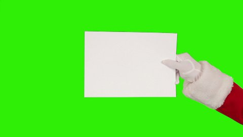 Santa Claus Presenting a White Sheet then sending a Kiss and saying Bye, Green - stock footage