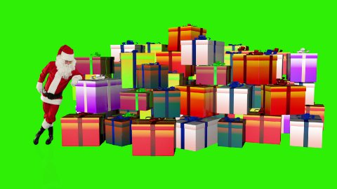Santa Claus magically piling up gift boxes, Green Screen - stock footage