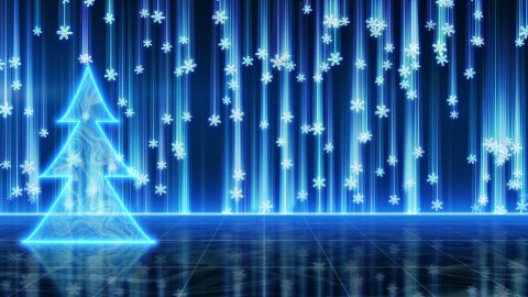 futuristic blue christmas tree and snowfall loop - stock footage