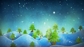 seamless loop flying above cardboard wintry forest  - motion graphic