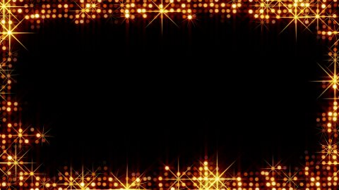 frame of shiny gold circles and stars  - stock footage