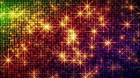shiny colorful circles and stars loop  - stock footage