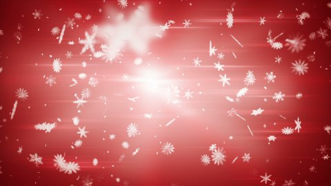 airy snowfall on red seamless loop