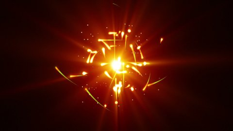 yellow particles rush and light loop - stock footage