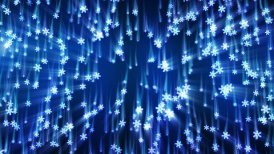 blue snowflakes with light streaks falling loop