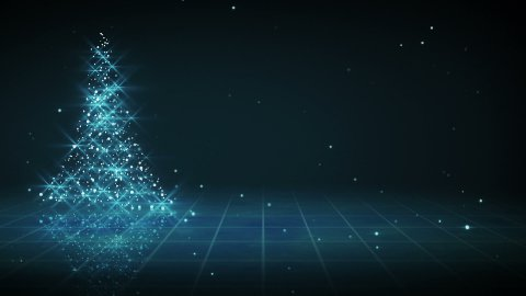 shiny blue christmas tree shape loop