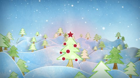 cardboard christmas forest intro last 10s are loopable