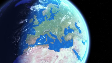 Zoom to Europe - stock footage