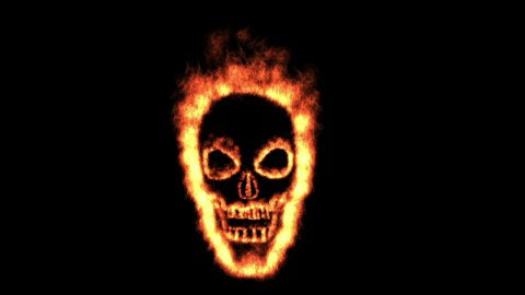 Burning skull with alpha ! - stock footage