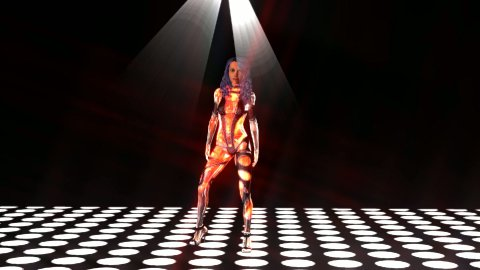 Young girl dancing with stage lights 3d - stock footage