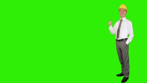 Young architect applauding, walk in, Green Screen - stock footage