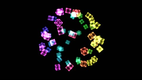 Bright Rotating Cubes - Loop Rainbow - stock footage