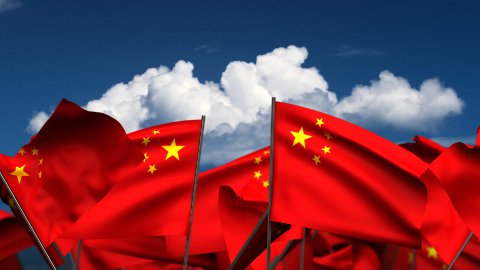 Waving Chinese Flags - stock footage