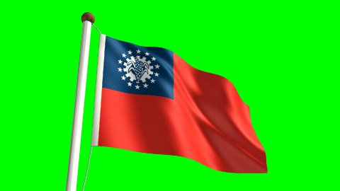 Myanmar flag - stock footage