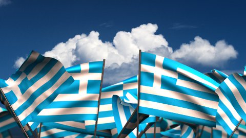 Waving Greek Flags - stock footage