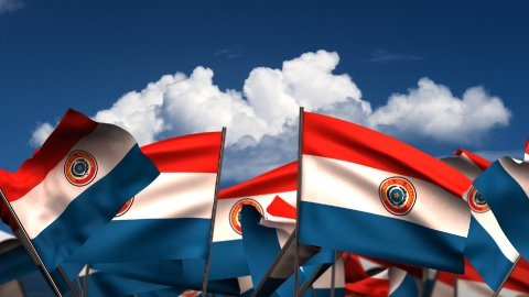Waving Paraguayan Flags - stock footage