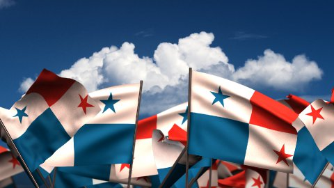Waving Panamanian Flags - stock footage