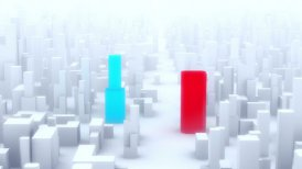 Two competitive companies in the city. - motion graphic