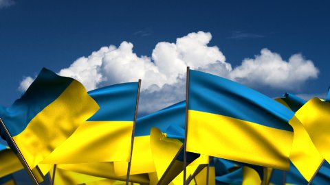 Waving Ukrainian Flags - stock footage