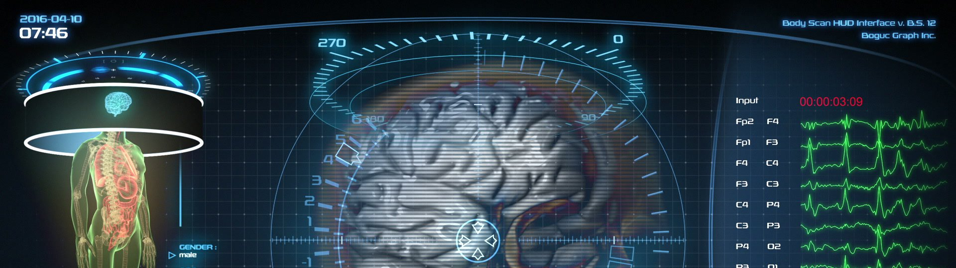 Futuristic brain scan | Holographic medical application interface - ID:18483