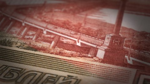 Russian Ruble Close-up - stock footage