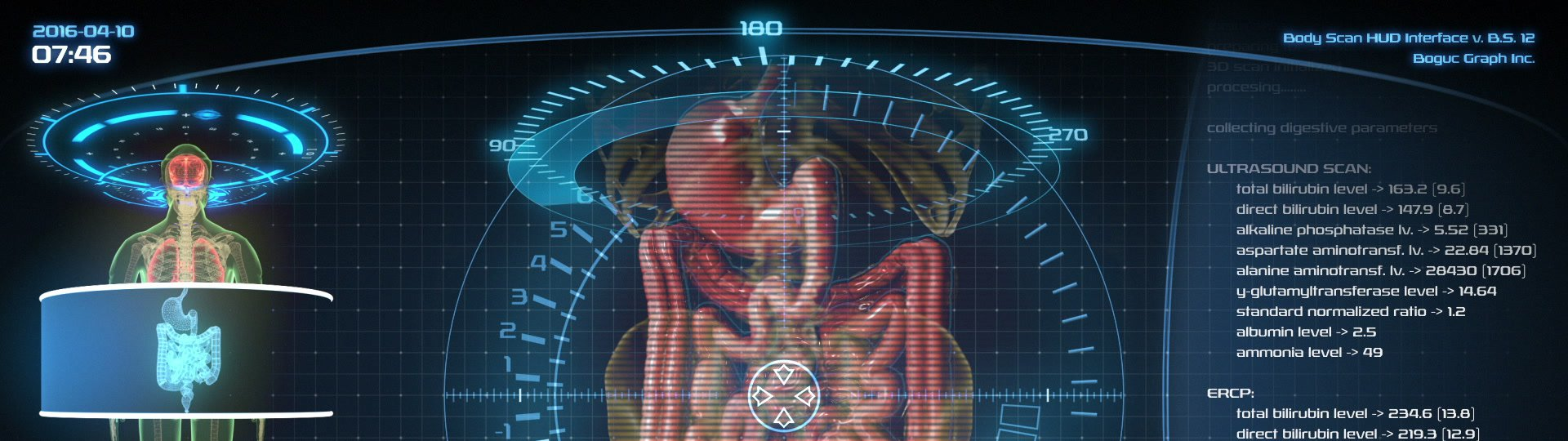 Futuristic digestive system scan | Holographic medical application interface - ID:18564