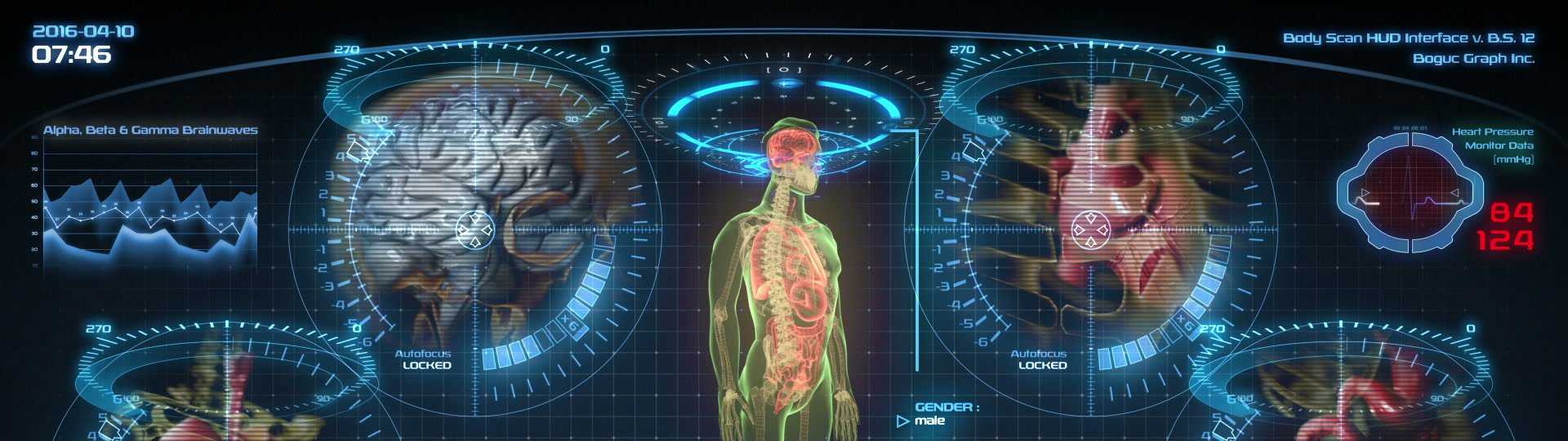 Futuristic human anatomy scan | Holographic medical application interface. Seamless loop.  - ID:18568