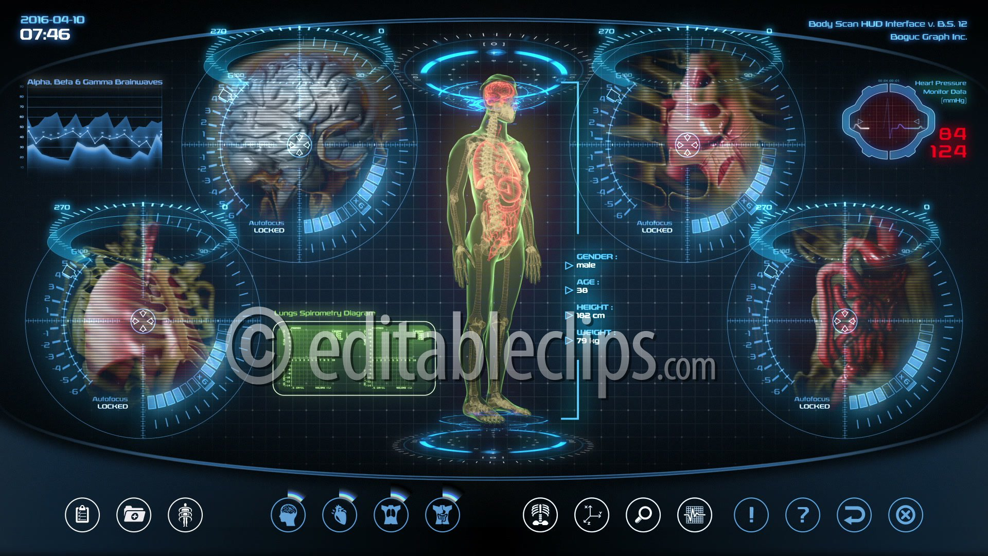 Futuristic human anatomy scan, HD 1080 - Editable Clips