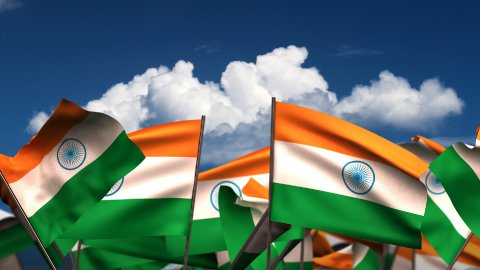 Waving Indian Flags - stock footage