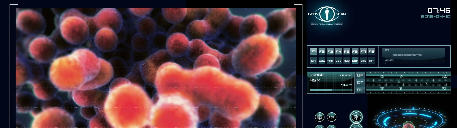 Dynamic cells multiplying | Futuristic medical software interface - ID:18813