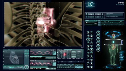 Futuristic heart scan - stock footage