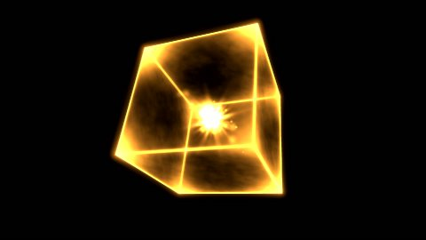 Rotating Glowing Cube Animation - Loop Golden - stock footage