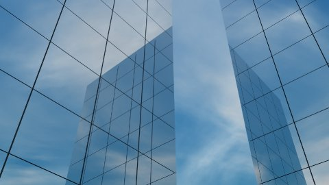 db clouds 10 buildings reflection hd1080 - stock footage