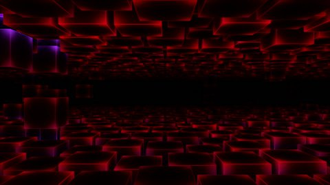 Abstract Moving Blocks Background - Loop Red - stock footage