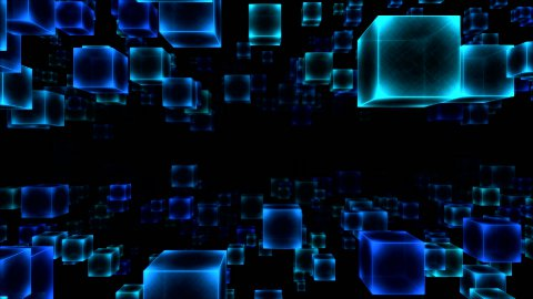 Abstract Moving Blocks - Loop Blue - stock footage