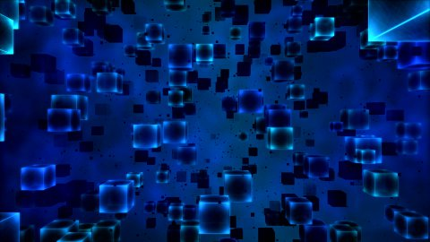 Abstract Cubes Animation - Loop Blue - stock footage