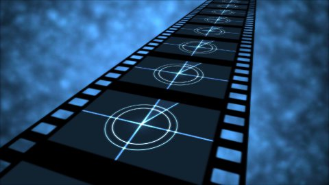 Movie Countdown Animation - Loop Blue - stock footage