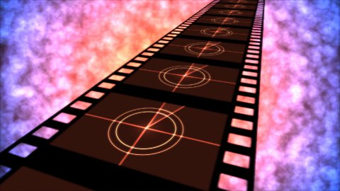 Movie Countdown Animation - Loop Red Purple - stock footage