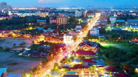 night view of Pattaya city, Thailand timelapse - stock footage