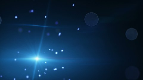 shining blue particles and lens flare loopable background - stock footage