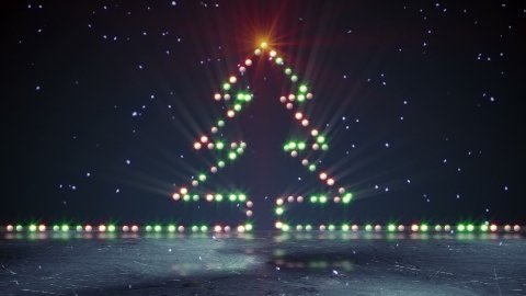 christmas tree shape lights on ice loopable - stock footage