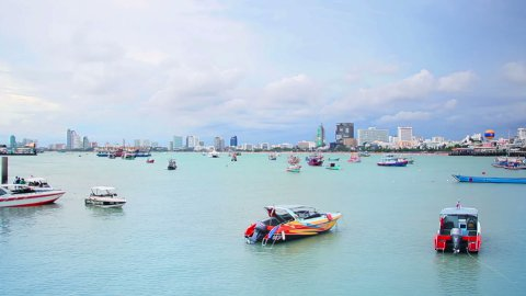 ships in bay of Pattaya, Thailand - stock footage