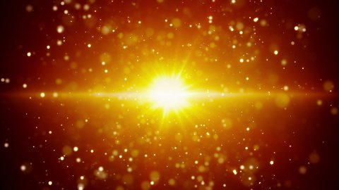 gold light and flying particles loop background - stock footage