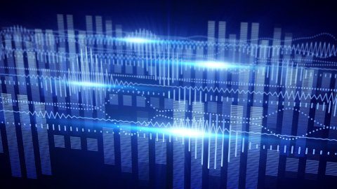 blue equalizer audio waveform loopable background - stock footage