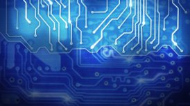 blue computer circuit board loop background - motion graphic