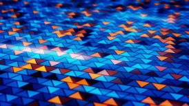 blinking blue orange triangles loopable background - motion graphic